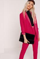 Missguided Silky Collar Longline Blazer Pink