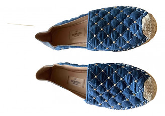 Valentino Rockstud Spike Blue Cloth Heels