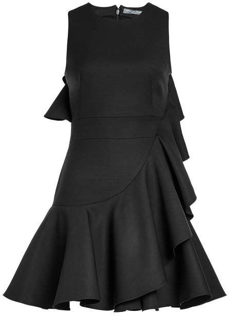 Alexander McQueen Ruffled Dress with Virgin Wool and Silk