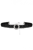 Quiz Black Lace Diamante Circle Choker
