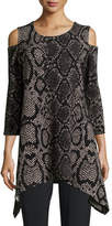 Caroline Rose Rattle & Roll Cold-Shoulder Animal-Print Tunic, Plus Size