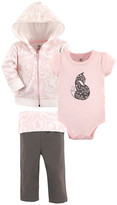 Yoga Sprout Girls' Infant Bodysuits Lace - Pink & Black Lace Garden Bodysuit Set - Infant