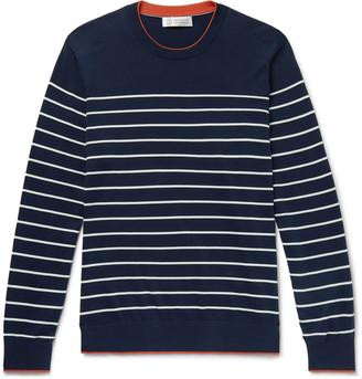 Brunello Cucinelli Contrast-Tipped Striped Cotton Sweater