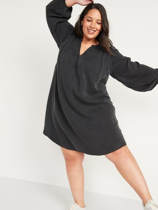 Old Navy Split-Neck Black Chambray Plus-Size Swing Dress