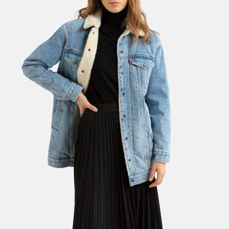 Levi's Cotton Long Denim Jacket with Faux Sheepskin Lining and Pockets