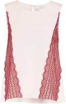 Tanya Taylor Amalie corded lace-paneled crepe top