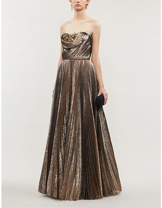 Oscar de la Renta Floral-applique metallic silk-blend gown