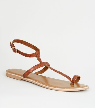 New Look Leather Faux Croc Toe Loop Sandals