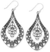 Lucky Brand Earrings, Silver-Tone Filigree Oblong Earrings