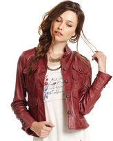Lucky Brand Jacket, Long-Sleeve Leather