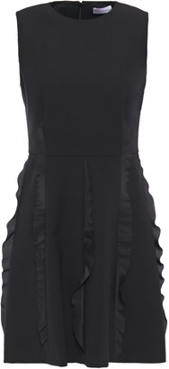 RED Valentino Ruffled Crepe De Chine-trimmed Crepe Mini Dress