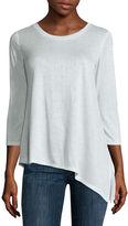 Liz Claiborne 3/4 Sleeve Asymmetric Hem T-shirt
