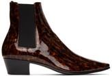 Saint Laurent Tortoiseshell Patent Dylan Boots