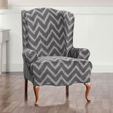 Sure Fit Stretch Plush Chevron Wing Chair Slipcover
