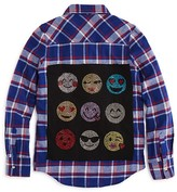 Butter Shoes Girls' Rhinestone Emoji Back Flannel Boyfriend Shirt - Sizes S-XL