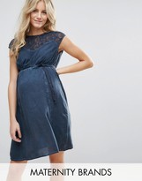 Mama Licious Mama.licious Mamalicious Maternity Dress With Lace Top