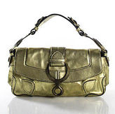 Cesare Paciotti Gold Metallic Leather Small Flap Satchel Handbag