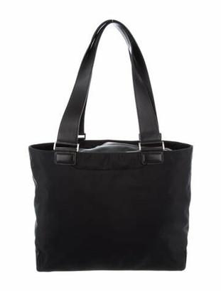 Tumi Leather-Trimmed Nylon Tote Bag Black