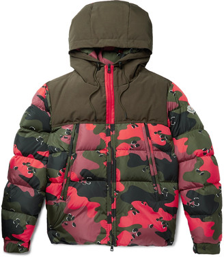 Moncler Quilted Camouflage-Print Shell Hooded Down Jacket - Men - Red