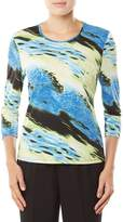 Allison Daley 3/4 Sleeve Diagonal Abstract Print Knit Top