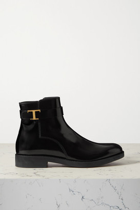 Tod's Logo-embellished Patent-leather Ankle Boots - Black