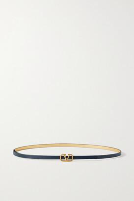 Valentino Garavani Vlogo Reversible Leather Belt - Blue