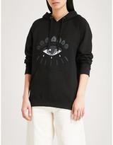 Kenzo Women's Black Evil Eye-Embroidered Cotton-Jersey Hoody, Size: L