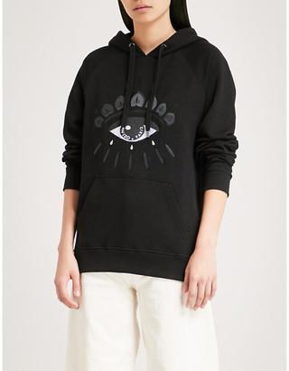 Kenzo Women's Black Evil Eye-Embroidered Cotton-Jersey Hoody
