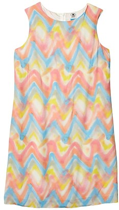 M Missoni Spray Print Chevron Sleeveless Shift Dress (Pink) Women's Clothing