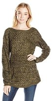It's Our Time Women's Marl Cable Drop Shoulder Round Hem Tunic Sweater