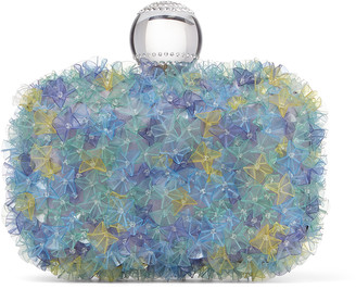 Jimmy Choo CLOUD Mint Mix Satin Clutch Bag with Flower Embroidery and Bowl Clasp