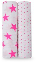 Aden Anais Aden + Anais Two Pack of Pink Star Swaddles
