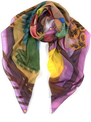 Misheo Sunset Feast Large Cotton Silk Scarf - Square