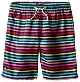 Toobydoo Rainbow Multi Stripe w/ White Lace Drawstring Swim Shorts (Infant/Toddler/Little Kids/Big Kids)