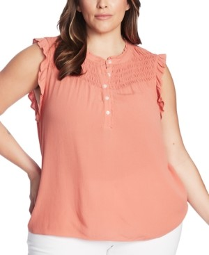 1 STATE Plus Size Smocked-Yoke Top
