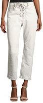 A.L.C. Yoko Lace-Front Denim Pants, White