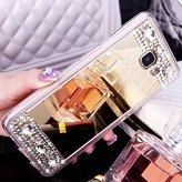 PHEZEN Samsung Galaxy J3 Case,Galaxy Sky, J3 V / Sol / Amp Prime / Express Prime Case Luxury Crystal Rhinestone Soft TPU Rubber Bumper Case Bling Diamond Glitter Makeup Mirror Back Case, Gold