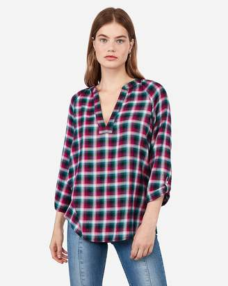 Express Teal Plaid Deep V Pullover Flannel