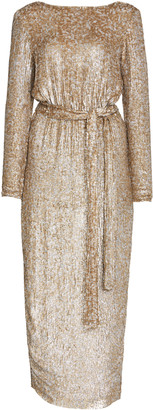 Rachel Gilbert Malery Belted Sequined Gown