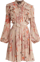 Giambattista Valli Ruffle-trimmed mushroom-print silk-georgette dress