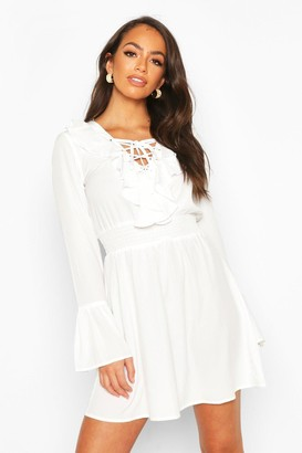 boohoo Lace Up Detail Skater Dress