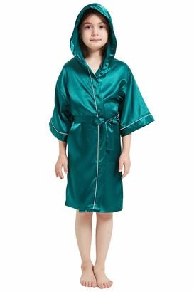 YAOMEI Kids Girls Boys Hooded Dressing Gown Kimono Robe Satin Pure Color Hoodie Bathrobe for Spa