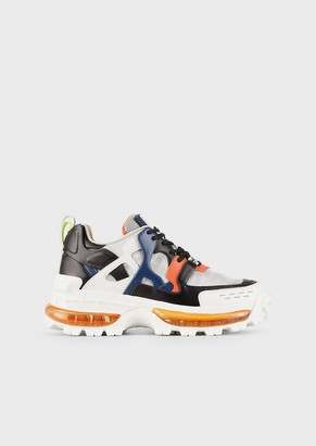 Emporio Armani Leather Sneakers With Patchwork Inserts