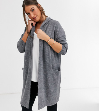 Micha Lounge Curve relaxed maxi cardigan with hood-Grey