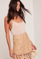 Missguided Nude All Over Lace Tassel Curve Hem Mini Skirt