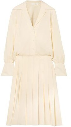 Chloé Layered Pleated Silk Crepe De Chine Dress
