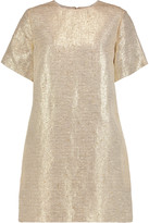 MSGM Woven lamé linen and cotton-blend mini dress