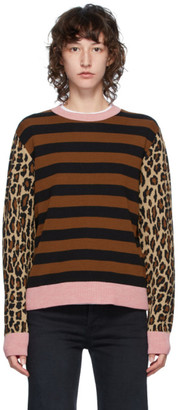 MSGM Brown and Pink Stripe Leopard Crewneck
