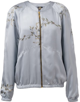 Castlebird Rose Le Perroquet Silk Bomber Jacket - Smoke Blue