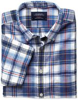 Charles Tyrwhitt Slim Fit Blue and Red Check Short Sleeve Cotton Linen Shirt Single Cuff Size Small